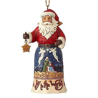 Jim Shore kernhout Creek vreugde aan de wereld Santa opknoping ornament