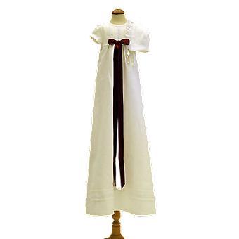 Dopklänning Och Dophätta, Vinröd Bred Rosett. Grace Of Sweden