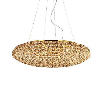 Ideale Lux King - X12 Glühbirne Anhänger Licht Gold Kristall Effekt (65cm)