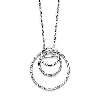 925 Sterling Silver ρόδιο επιμεταλλωμένα CZ κυβικά Zirconia προσομοίωση Diamond βρόχο κύκλους με 2 in. ext. κολιέ 16 ιντσών Εβραίος