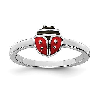925 Sterling Silver Rhodium plated for boys or girls Enameled Ladybug Ring - Ring Size: 3 to 4