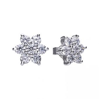 Diamonfire Silver & White Zirconia Claw Set Flower Cluster Stud Earrings