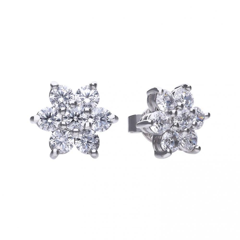 Diamonfire Silver & White Zirconia Claw Set Flower Cluster Stud Earrings