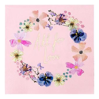 Floral Pink Paper Party Napkins Hen Party Wedding All for Love x 16