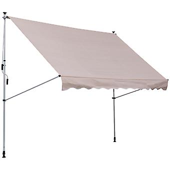 Outsunny 300 x 150cm Manual Awning Adjustable Height Angle Floor-To-Ceiling Shade Frame Beige