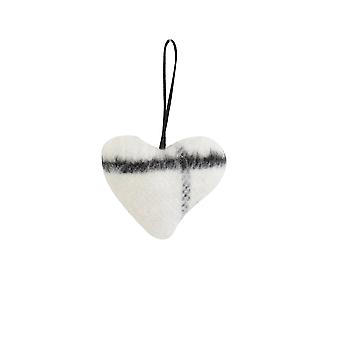 Light & Living Decorative Pendant 8.5x8x3.5cm Heart White And Black Print