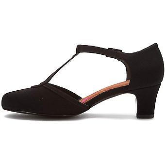 Ros Hommerson Womens Heidi Leather Round Toe T-Strap, Blk Micrtch, Size 7.5 Narrow