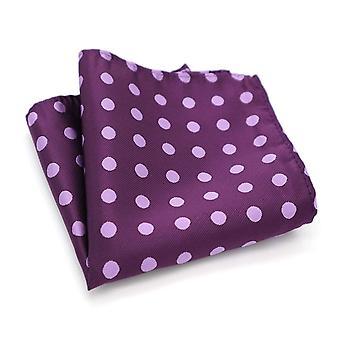 紫色和白色波尔卡圆点图案口袋方形