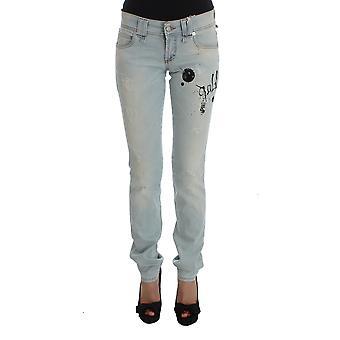 Galliano Pale Blue Wash Cotton Blend Slim Fit Jeans, Galliano