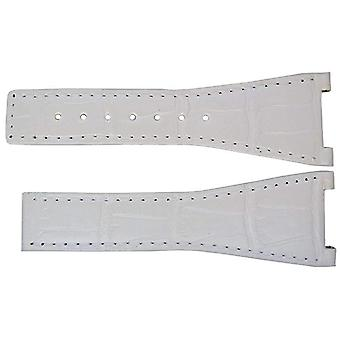 Authentic omega watch strap 28mm alligator - white deployment