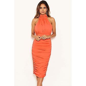 Hoge hals Ruched Coral Dress