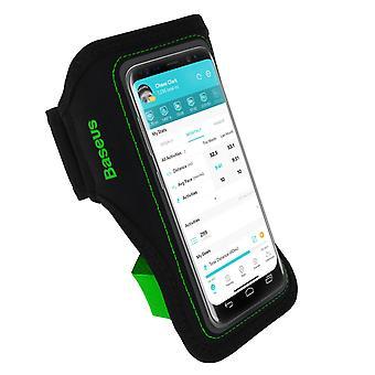Sport Armband Smartphone până la 5'' Suport de accesorii-Baseus Negru/Verde