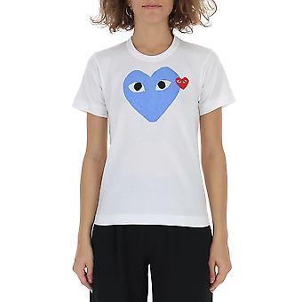 Comme Des Garçons Play P1t1052 Women's White Cotton T-shirt