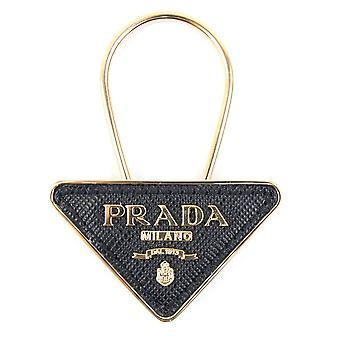 Prada Saffiano læder og metal nøglering sort / guld