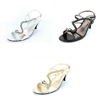 Anne Michelle Womens/Ladies Snake Design Heeled Sandals