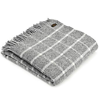 Tweedmill Pure New Wool Knee Lap Blanket, Chequered Check Grey