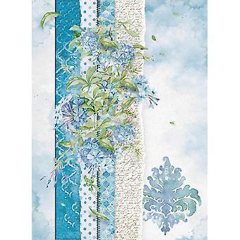 גיליון נייר אורז שסטיוני A4-פרחים בשבילך אור כחול