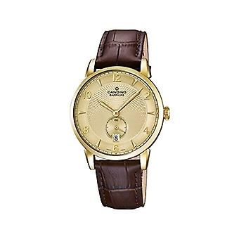 Candino-quartz, with analog Display and black leather strap, colour: Brown/c4592 4
