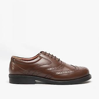 Scimitar Stewart Mens Leather Brogue Shoes Brown