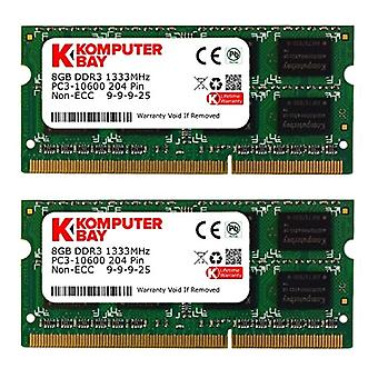Komputerbay 16GB (2x 8GB) DDR3 PC3-10600 10666 1333MHz SODIMM 204-pin memory laptop 9-9-9-24