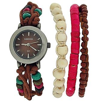 Kahuna Brown String Bead Bracelet Watch Toggle Closure SET-OF- 2,  AKLF-0011L