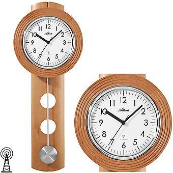 Atlanta 5092/30 Wall Clock Radio Radio Clock with Pendulum Beech