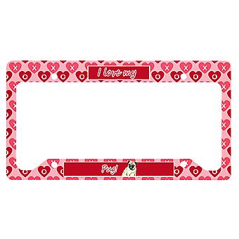 Carolines Trésors LH9162LPF Pug Valentine-apos;s Love and Hearts License Plate Fra