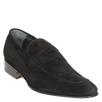 Black suede leather penny loafers shoes handmade