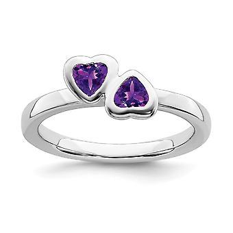 925 plata esterlina bisel pulido Rhodium plateado expresiones apilables amatista doble amor corazón anillo joyería regalos fo
