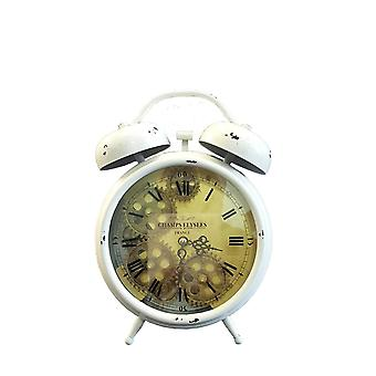 Newton alarm moving cogs bedside clock - white