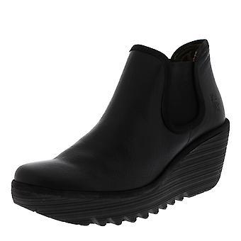 Naisten lentää Lontoossa Yat Mousse nahka musta kiila kantapää platform nilkan boot