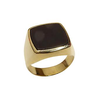 Yellow gold men seal ring with onyx