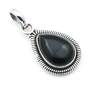 Ketju riipus Amulet Hopea 925 Sterling Hopea Onyx Musta Kivi (Nr: MAH 107-03)