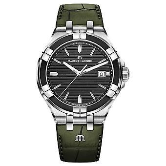 Maurice Lacroix Aikon Quartz | Green Leather Strap | Black Dial AI1008-PVB21-330-1 Watch