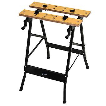 DURHAND 4-in-1 Work Bench Saw Horse Clamp Table w/ Rulings Tool Holes Steel Frame 4 Work Clamping Dogs Adjustable Folding DIY Home Garage