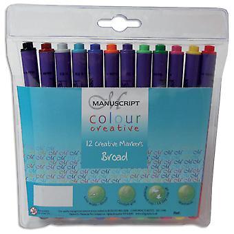 Manuscript Colour Creative Marker Pens Broad Tip 12/Pkg-