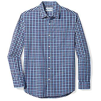Essentials Men's Regular-Fit Long-Sleeve Casual Poplin Shirt, Marine kariert, klein