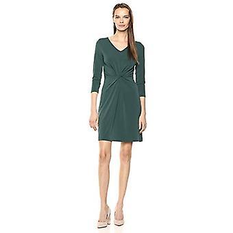 Lark & Ro Women's Crepe Knit Three Quarter Sleeve Center Twist Dress, Hunter ...