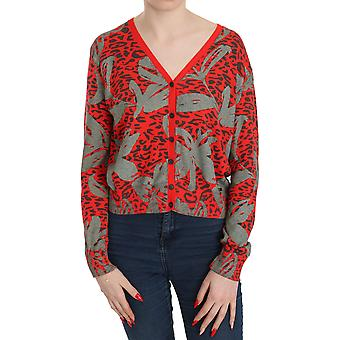 Suéter vermelho cardigan manga comprida blusa casual top -- Tsh3473968