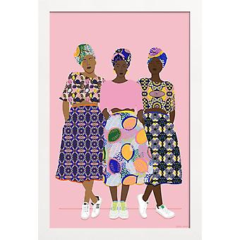 IMPRESSION JUNIQE - Ruban Grlz - Affiche d'illustration de mode en couleur et rose