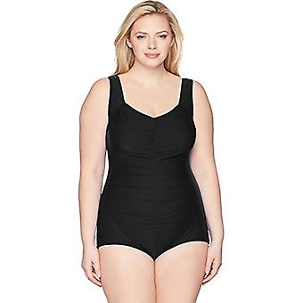 Maxine Of Hollywood Women's Plus-Size Shirred Front Girl Leg One Piece Swimsu...