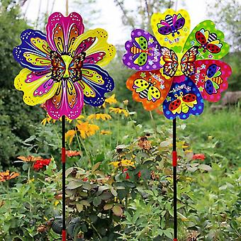 3d Multi-color Butterfly Flower Vindmølle Spinner For Garden Yard