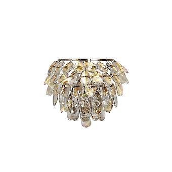 Geïnspireerd diyas - Coniston - Wandlamp, 1 Licht E14, Gepolijst chroom, kristal