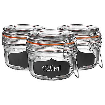 Glass Storage Jars with Airtight Clip Lid and Chalkboard Stickers - 125ml Set - Orange Seal - Pack of 6