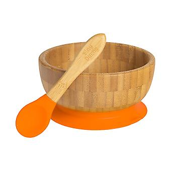 Tiny Dining Children's Bamboo Cereal / Dessert Bowl with Stay Put Succion & Soft Tip Spoon - Orange