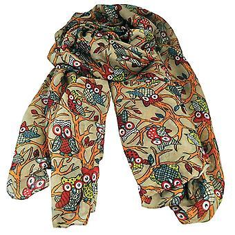 Slips Planet Owl Animal - Bird Print Camel Beige Letvægts Kvinder & apos;s sjal tørklæde
