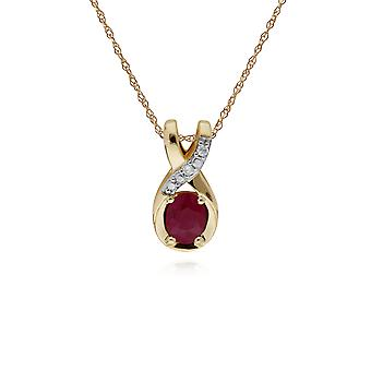Classic Oval Ruby & Diamond Twisted Bale Pendant Necklace in 9ct Yellow Gold 135P1900019