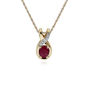 klassisk oval rubin & diamant vridd bale anheng halskjede i 9ct gult gull 135P1900019