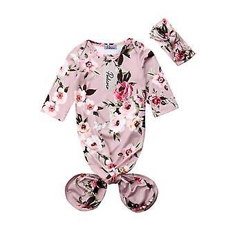 Pasgeboren baby slaapkleding, gewaad swaddle & hoofdband