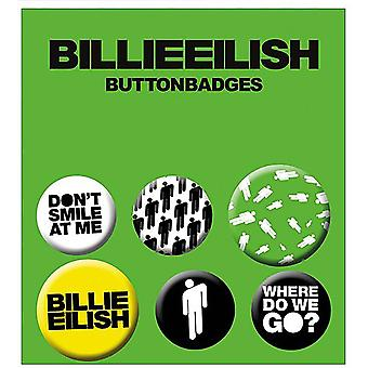 Billie Eilish Buttonset Mix Stickman 4 Buttons (25 mm) + 2 Buttons (32 mm) aus Metall, in Blisterverpackung.